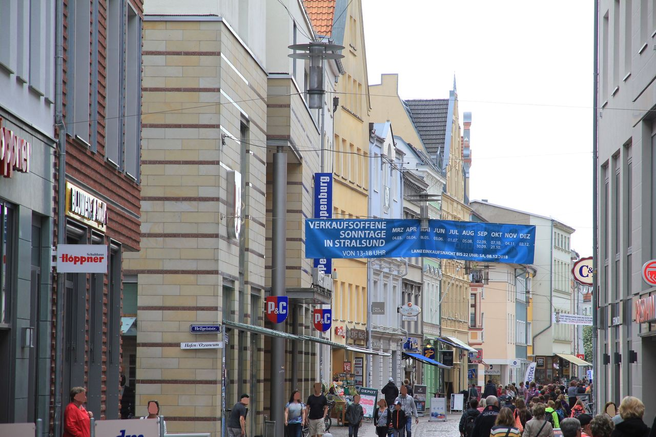 Shopping in the old town of Stralsund